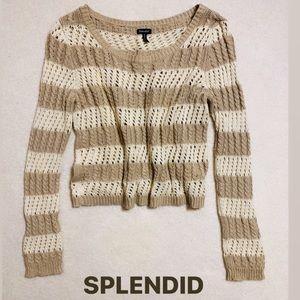 Splendid long sleeved tan / cream knit sweater